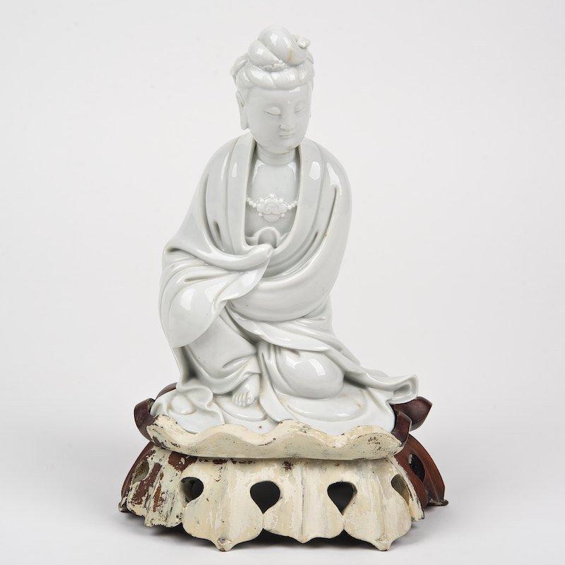 Chinese blanc de chine seated Guanyin