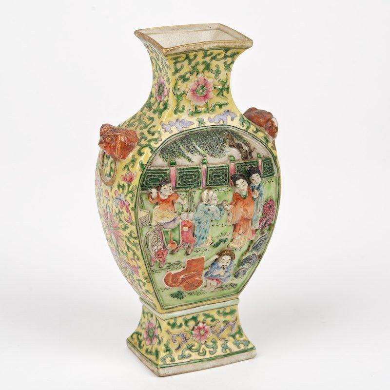 Chinese yellow ground erotic cabinet vase