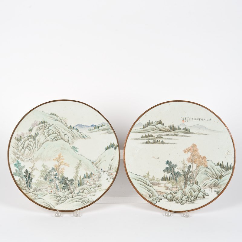Pair Chinese famille vert porcelain round plaques