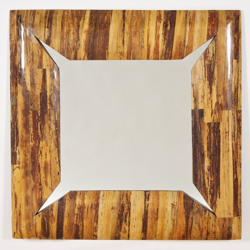 Karl Springer style lacquered birch bark mirror