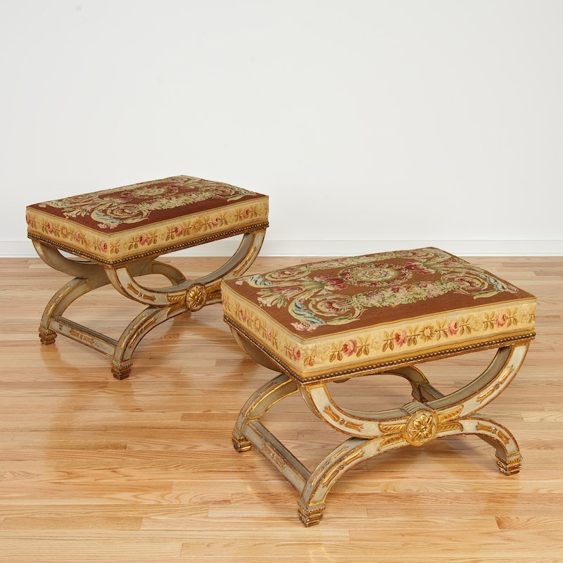 Nice pair Charles X gray painted Aubusson stools