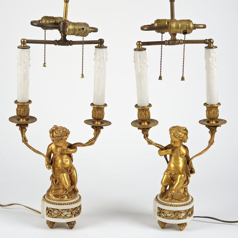 Pair Louis XVI style gilt bronze candelabra lamps