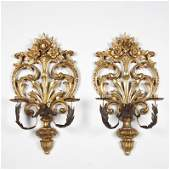 Pair Italian Rococo style silvered wood wall sconces