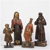 4 antique Spanish Colonial wood Santo figures