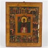 Antique Russian painted and gilt wood icon