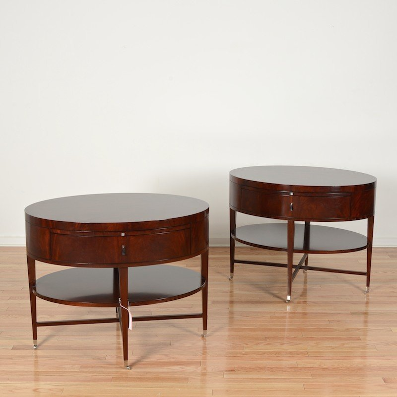 Pair Rosenau oval side tables by Bolier & Co.