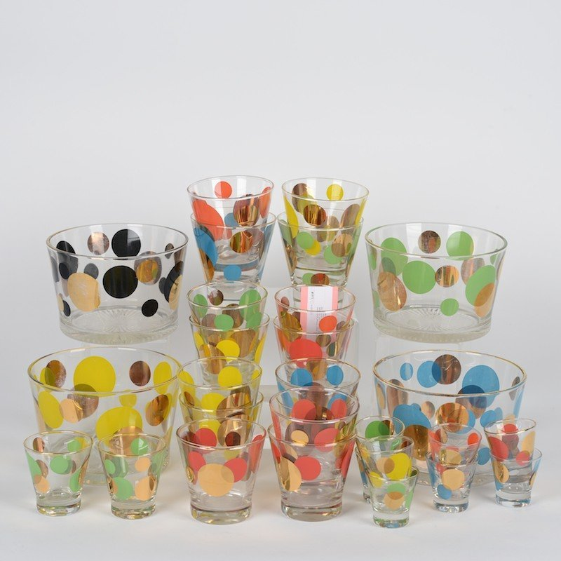 """Collection Russel Wright """"Eclipse"""" glass barware"""