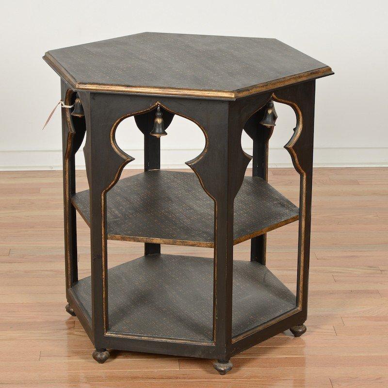 Moorish style black painted 3-tier side table