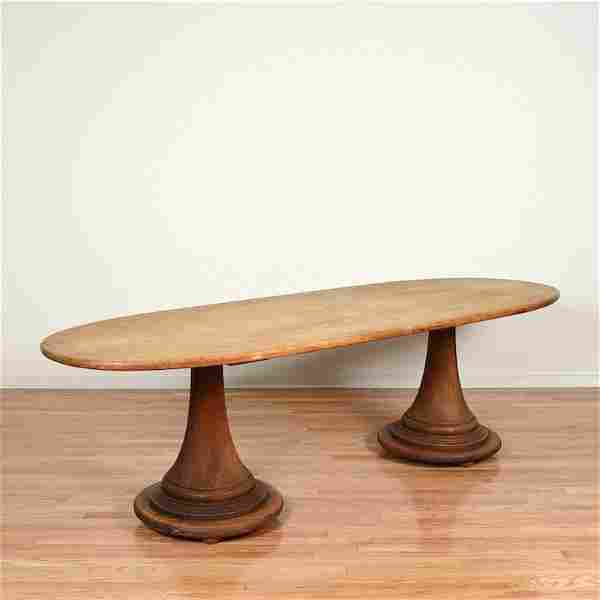 Phillip Lloyd Powell style pedestal dining table