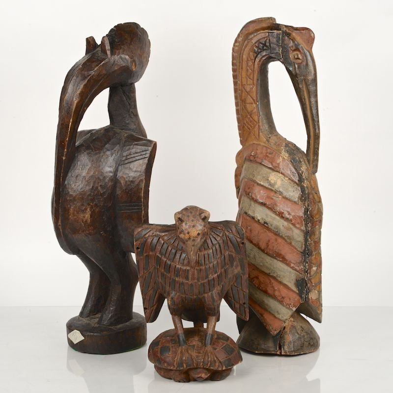 (3) African tribal carved, painted wood bird statues