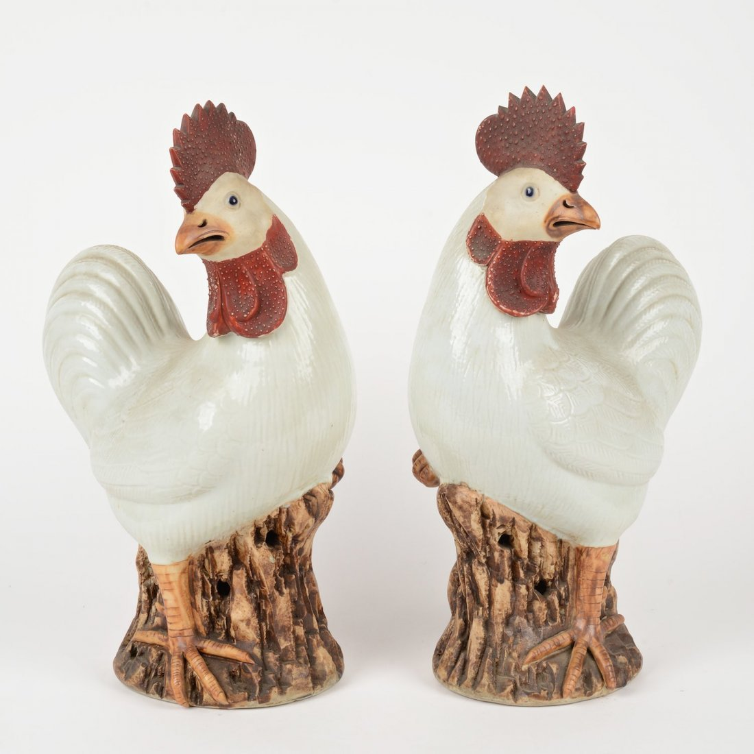 Pair Chinese Export porcelain roosters
