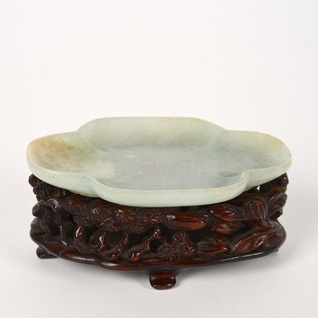 Antique jade quatrefoil dish with inscription