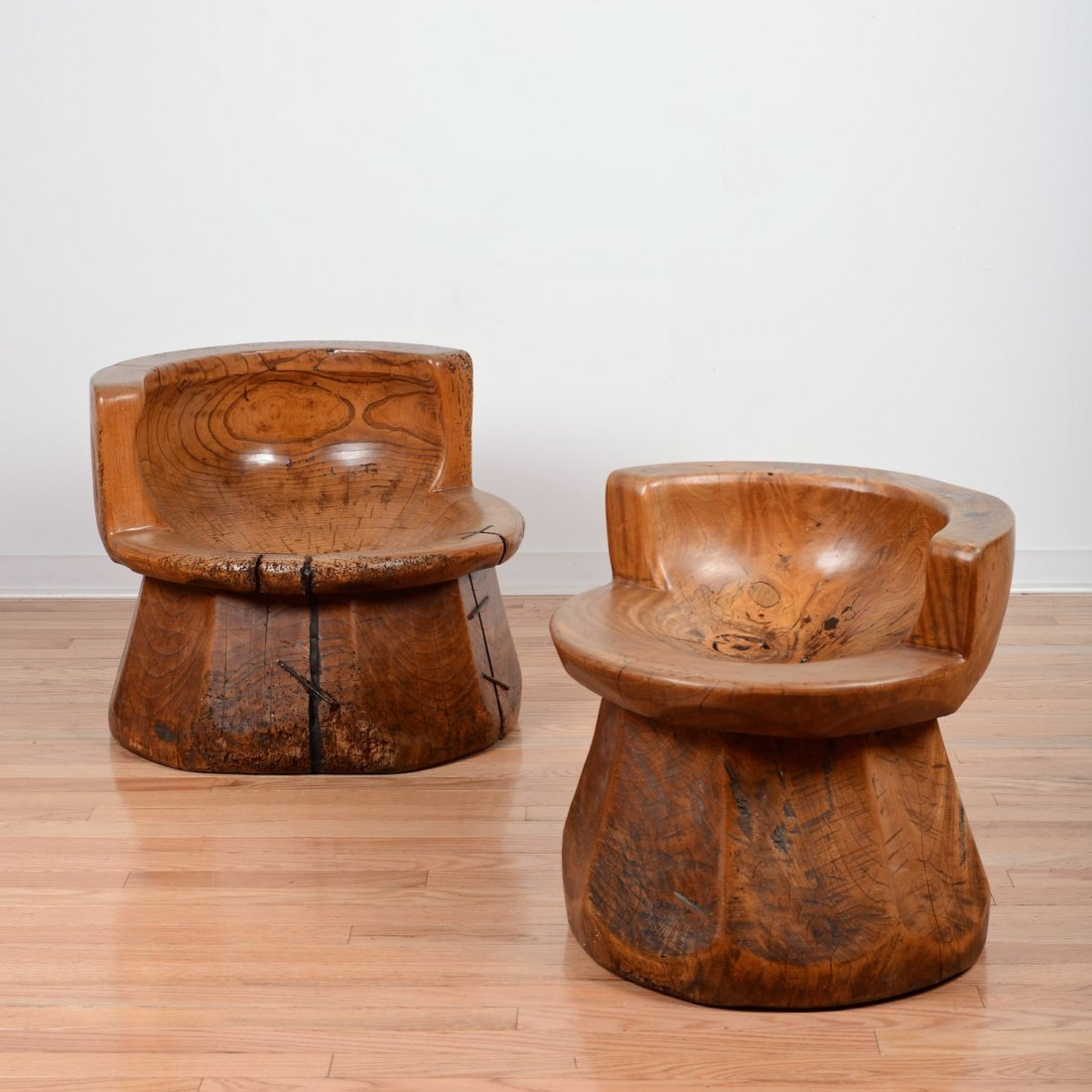 Pair Japanese keyaki wood uzu chairs