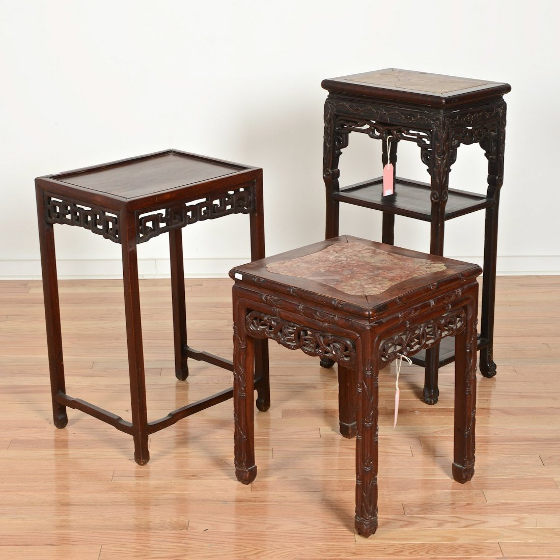 (3) Chinese Export carved hardwood tables