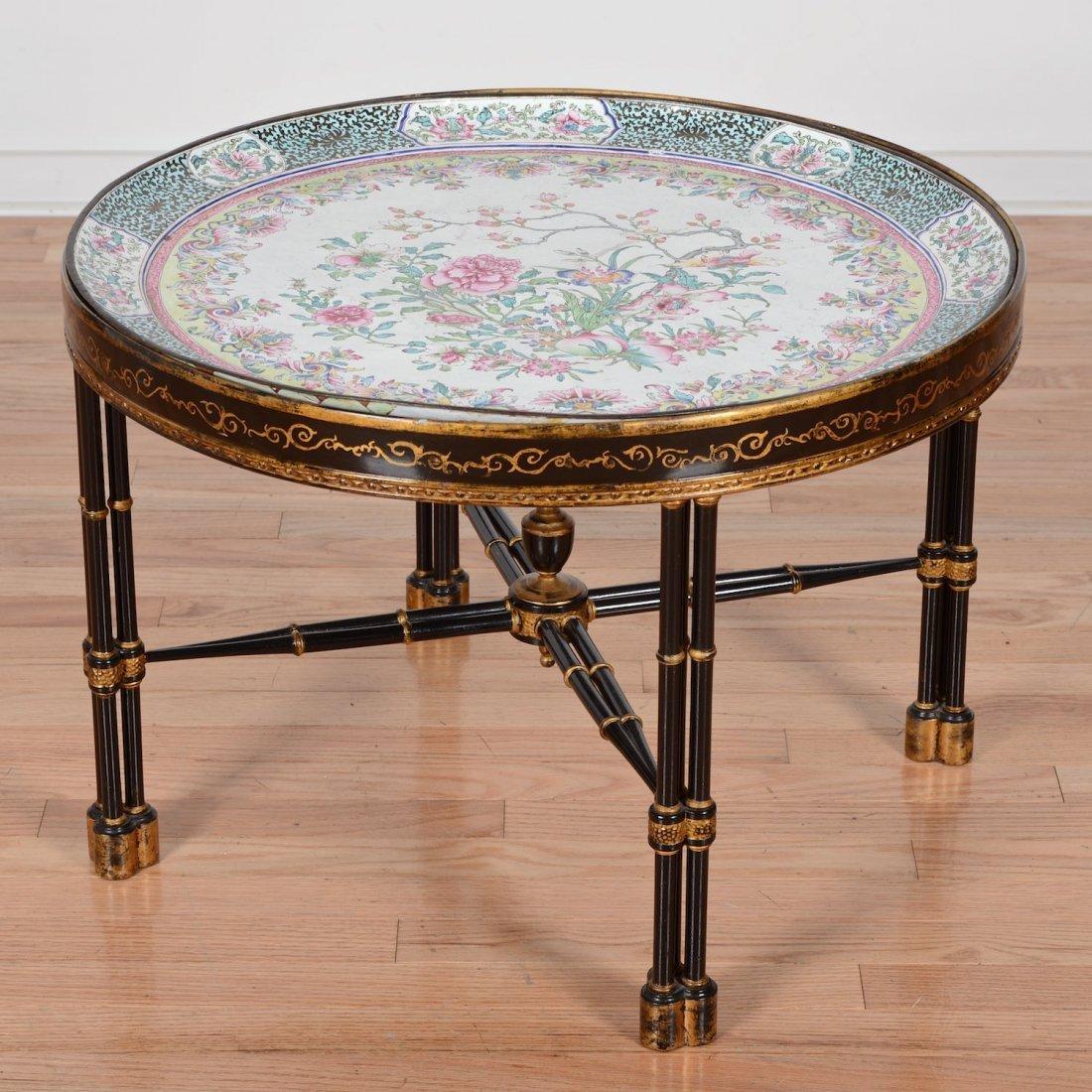 Large Chinese Export Canton enamel tray on table base