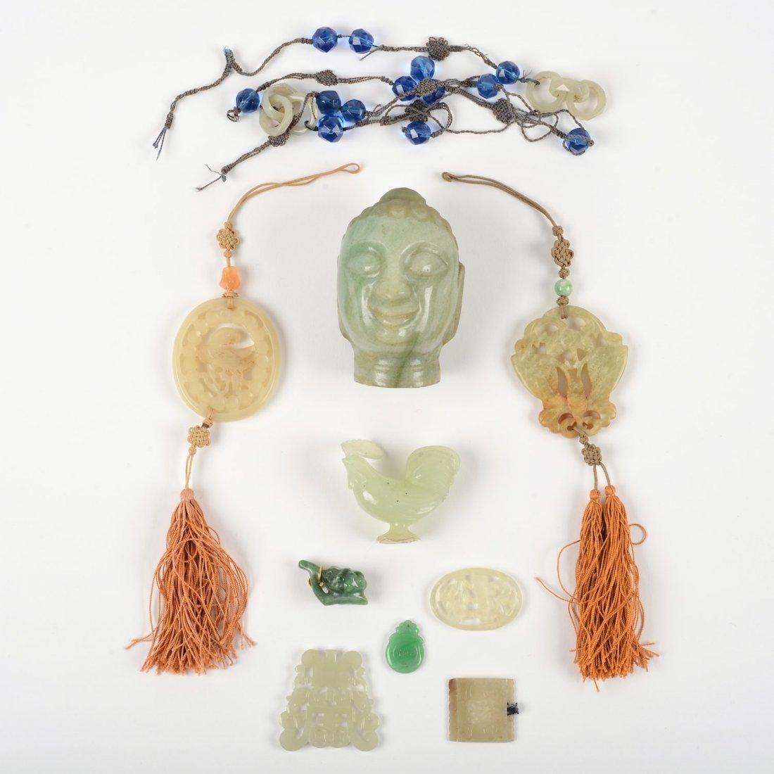 Group (10) Chinese jade carvings