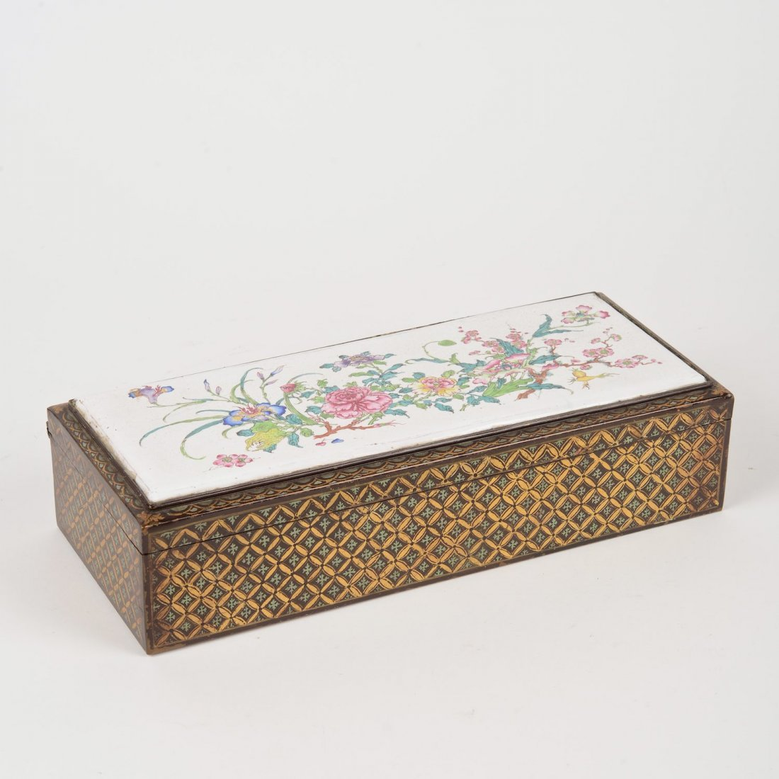 Chinese Canton enamel and gilt copper box