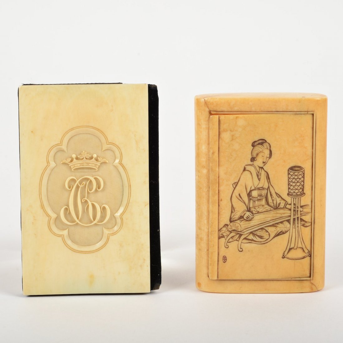 (2) Asian Export erotica/armorial ivory cases