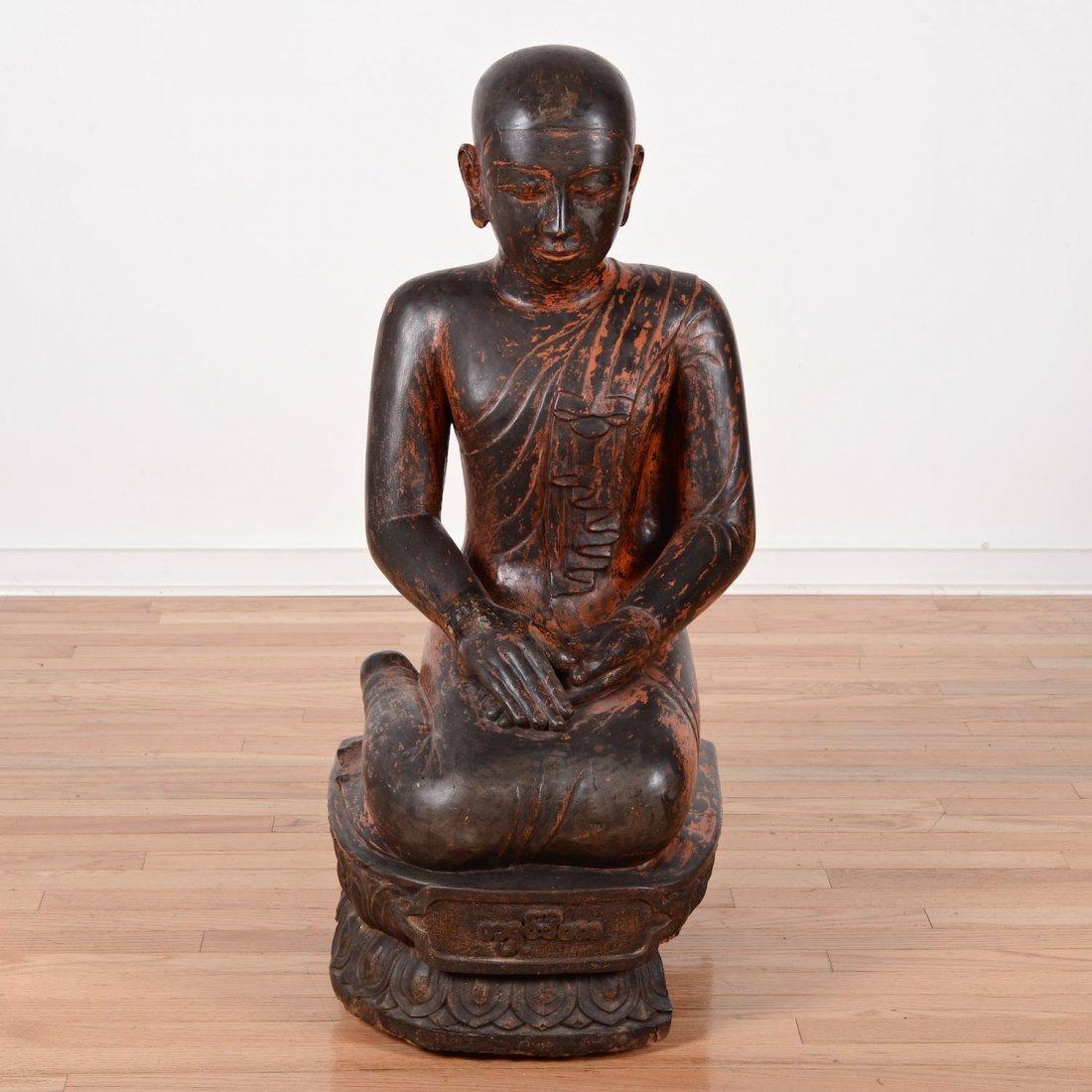 Large Southeast Asian giltwood Buddhist monk