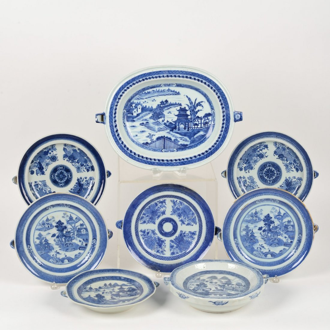 (7) Chinese Export blue and white hot water dishes