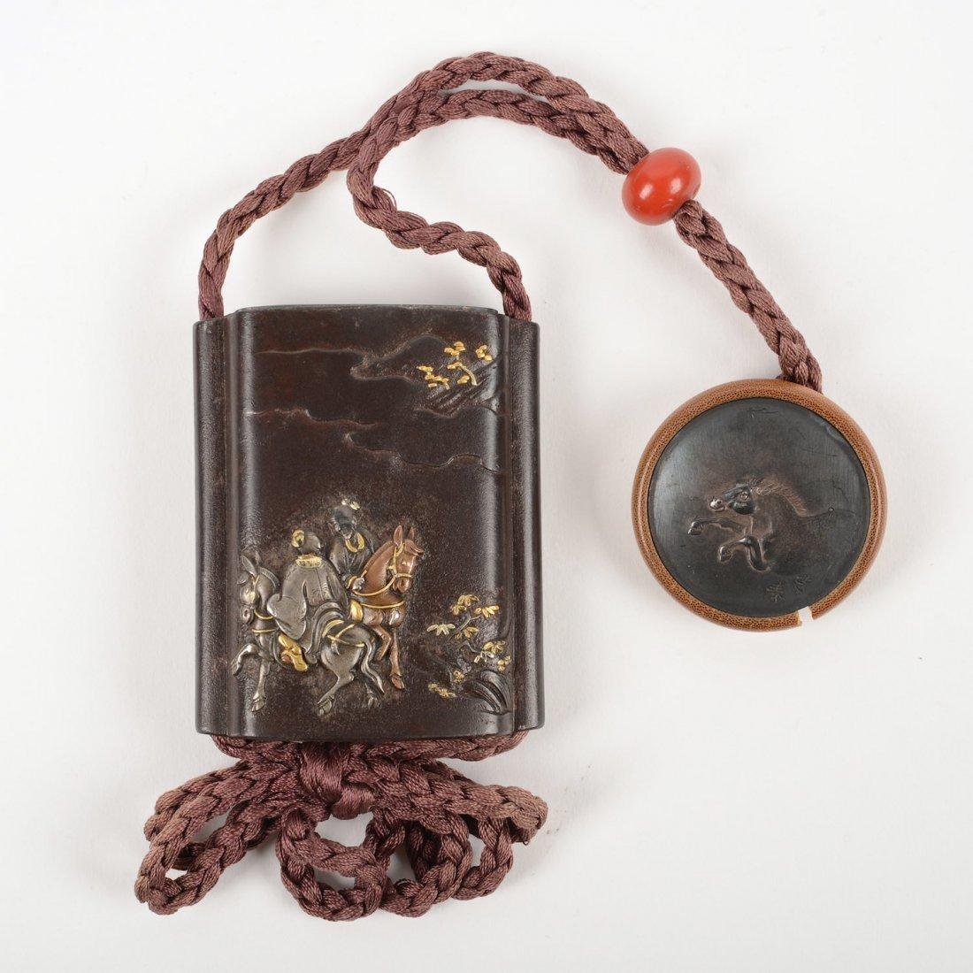 Small Japanese inlaid iron four case inro