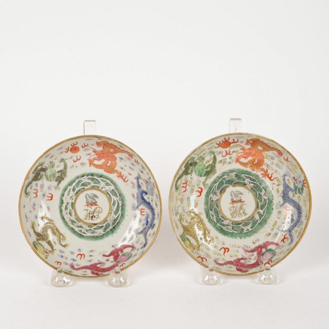 """Pair Chinese Export """"Five Dragons"""" armorial dishes"""
