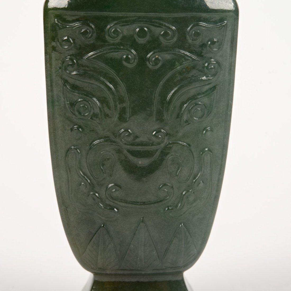 Chinese carved spinach jade urn and cover - 4