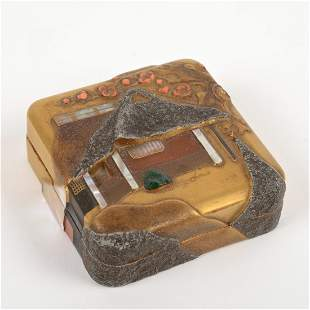 Japanese artist-signed hardstone inlaid lacquer box