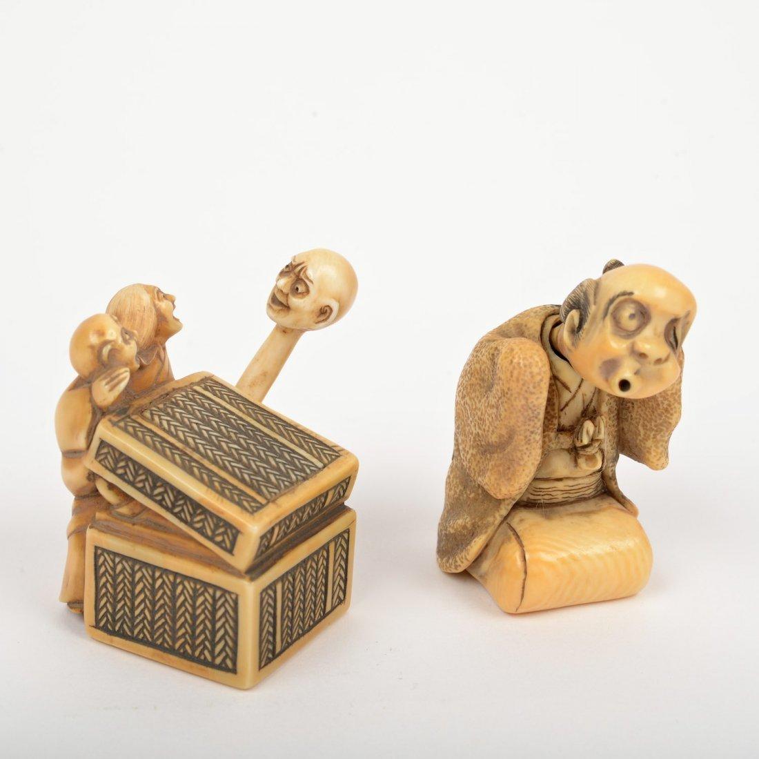(2) Japanese ivory artist-signed karakuri netsuke