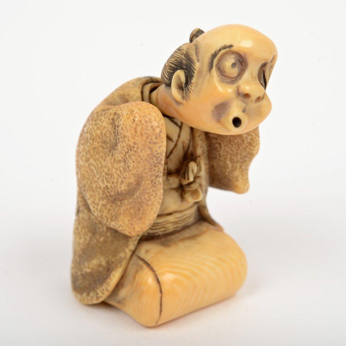 (2) Japanese ivory artist-signed karakuri netsuke - 2