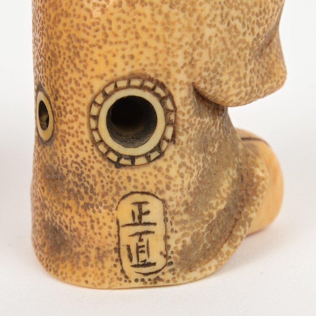 (2) Japanese ivory artist-signed karakuri netsuke - 5