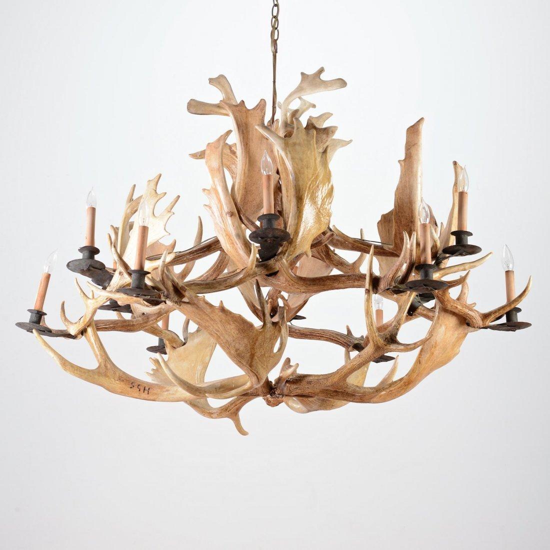 Lauren style 10 light elk antler chandelier