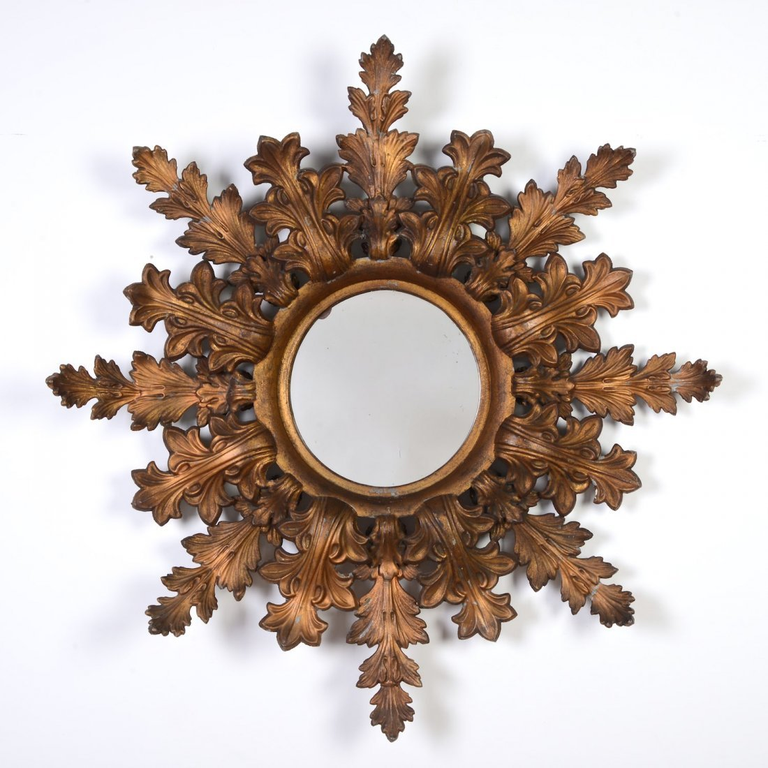 Continental gilt tole sunburst wall mirror