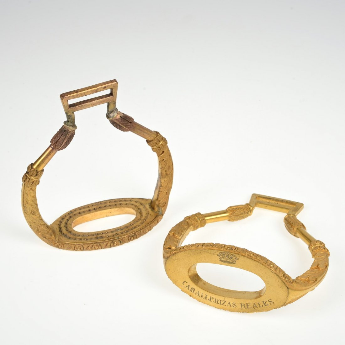 Pair Spanish bronze stirrups from the Royal Stables
