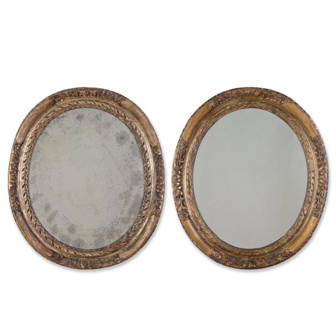 Pair Continental Neo-classical silvered wood mirrors