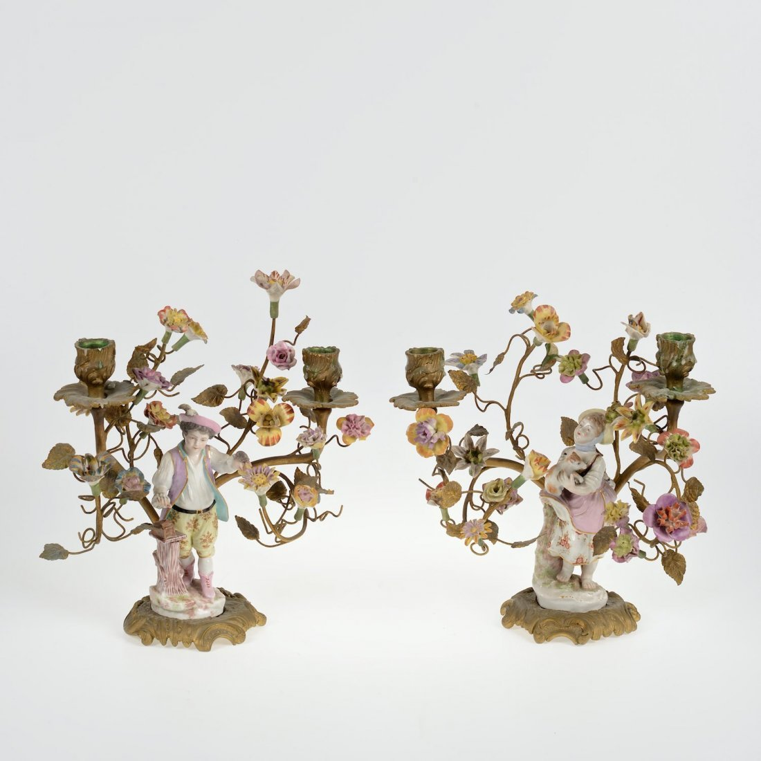 Pair Meisssen style porcelain and bronze candelabra