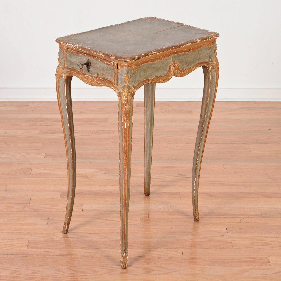 Nice Continental Rococo gray painted side table