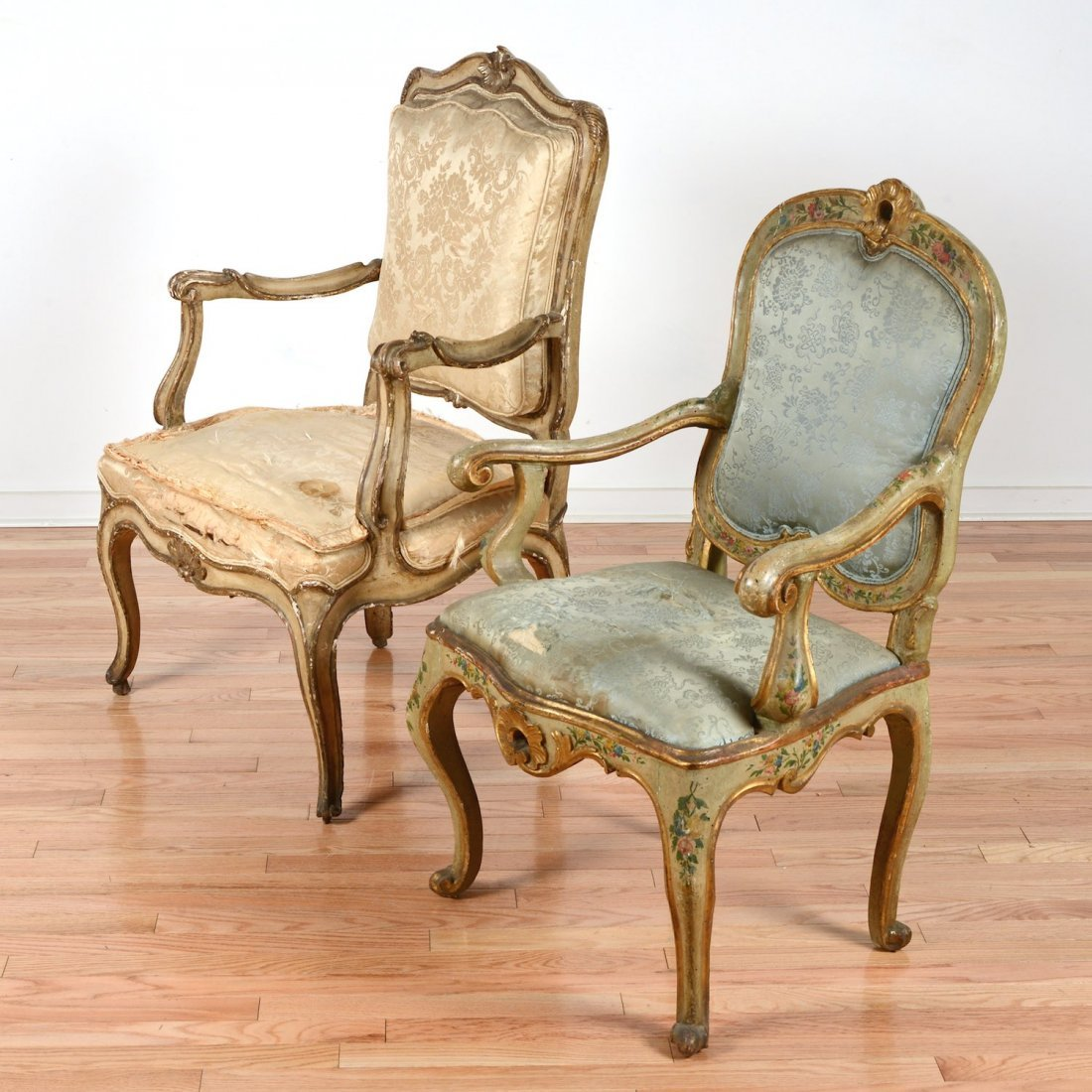 (2) Continental Rococo paint decorated armchairs