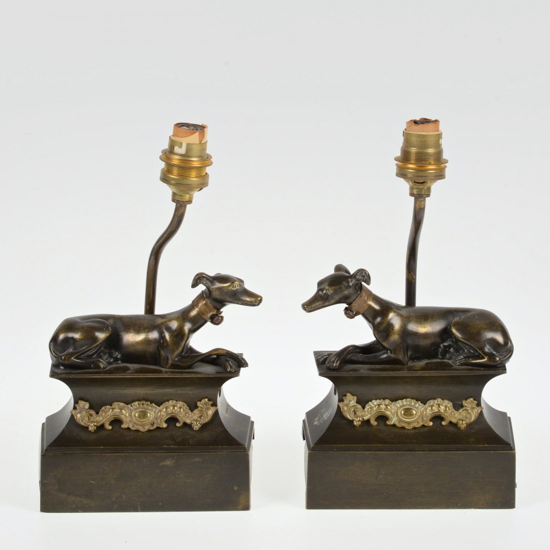 Pair small bronze whippet chenets mounted as lamps