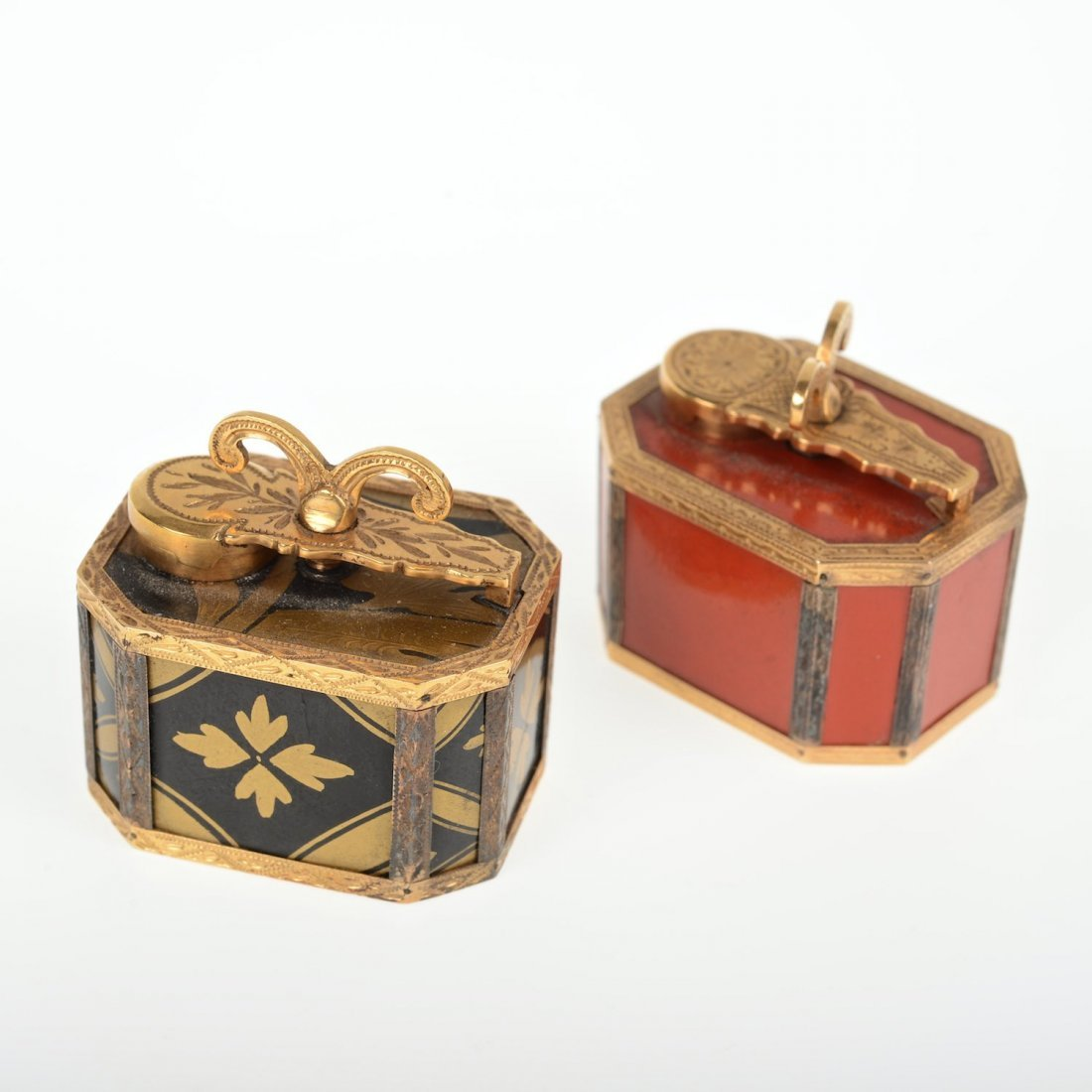 (2) Louis XV gilt mounted lacquer traveling inkwells