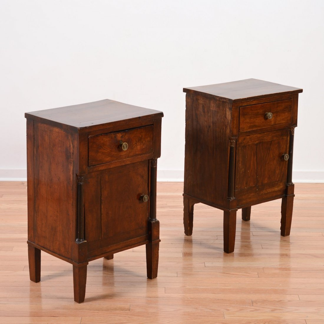 Pair Continental Neo-Classical bedside commodes
