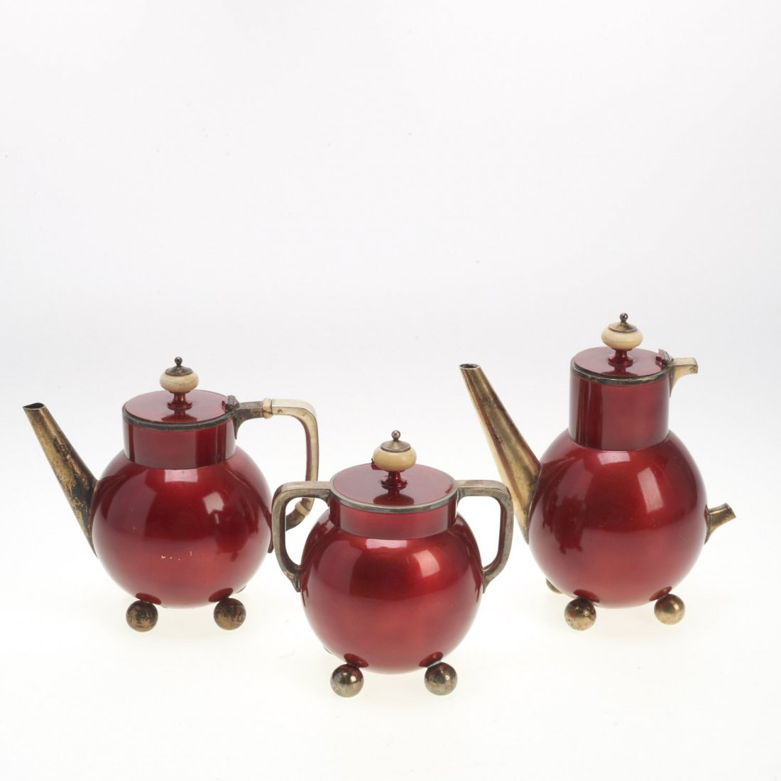 Early Russian Avant Garde silver enamel tea set