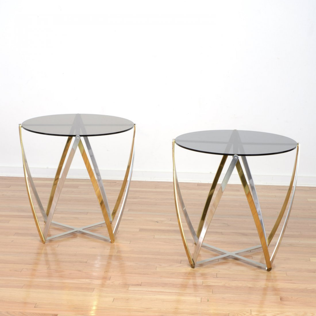 Pair John Vesey aluminum, brass side tables