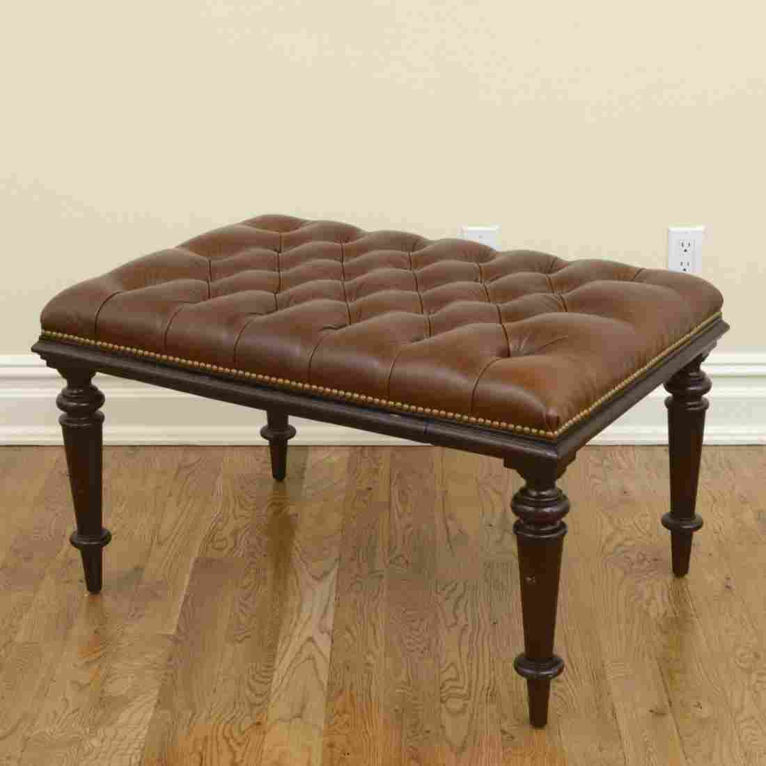 Ralph Lauren tufted leather top table