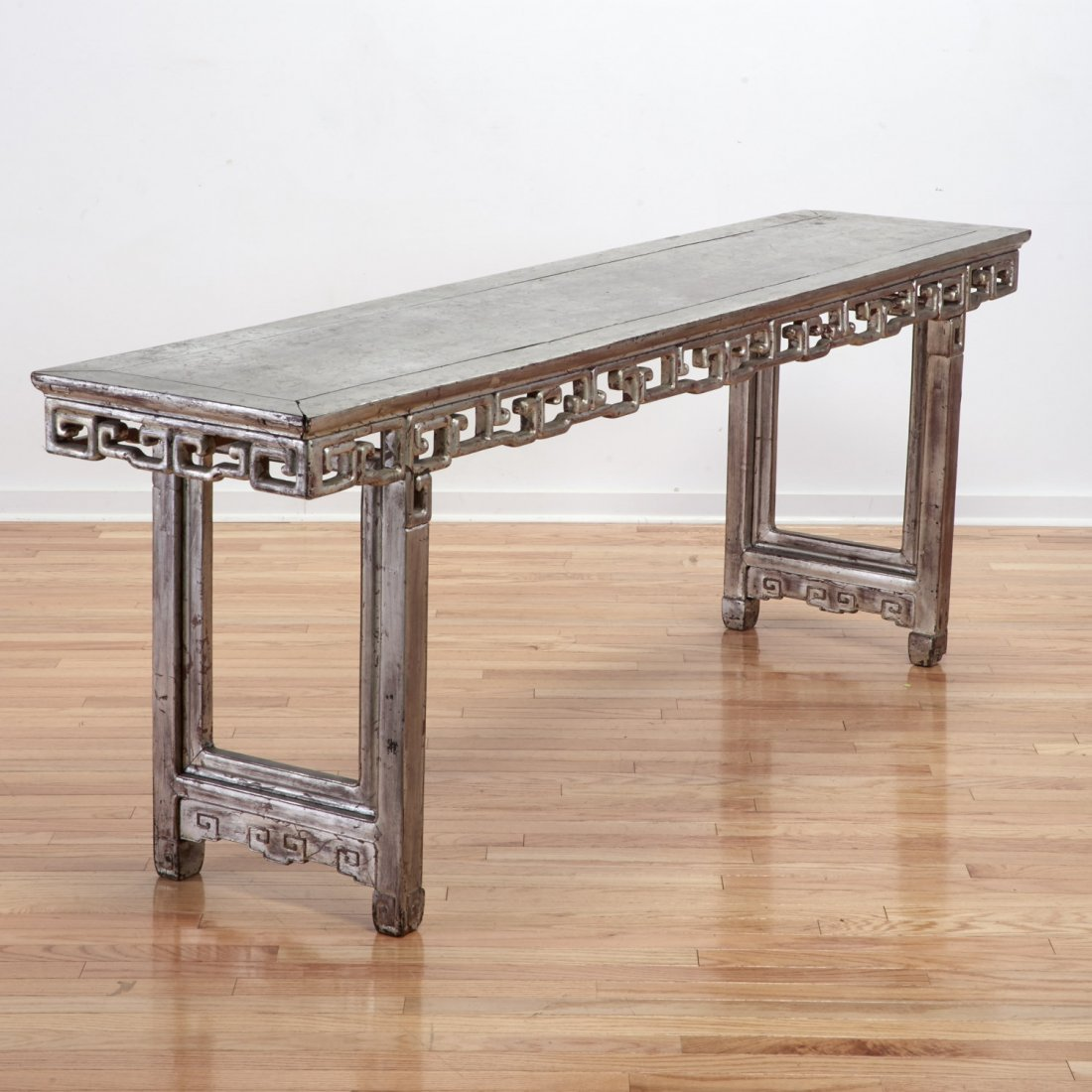 Chinese silvered wood console or altar table