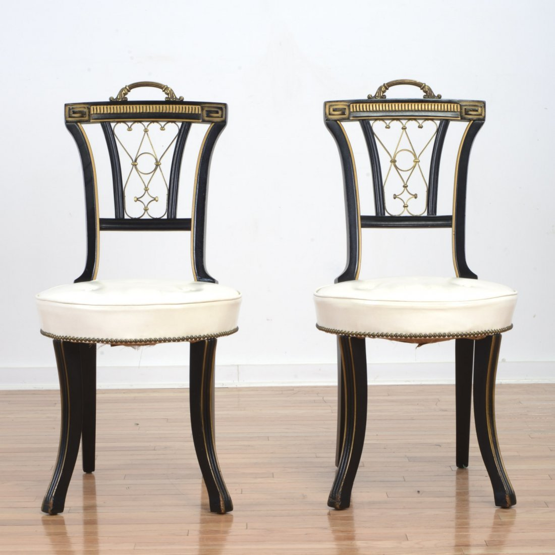Pair Hickory Chair Hollywood Regency side chairs