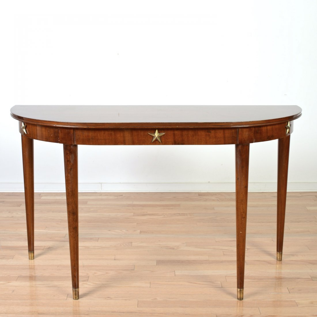 French Art Deco brass mounted mahogany console