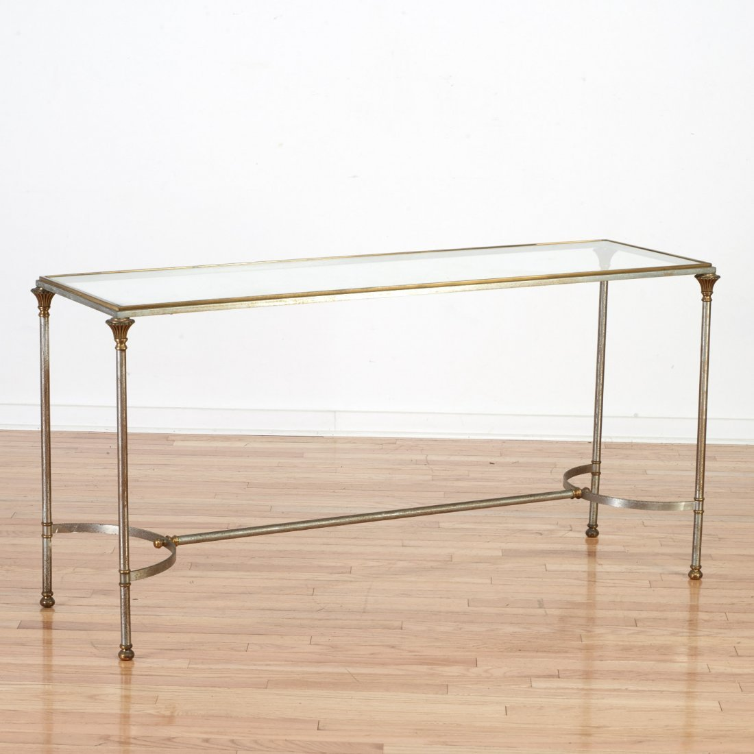 Maison Jansen style steel and brass console