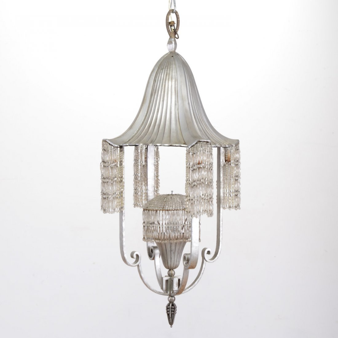 Very nice Ruhlmann style silvered iron chandelier