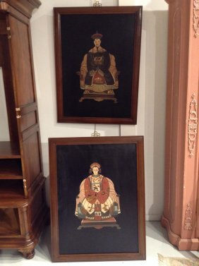 Pair Chinese Carved Lacquer Ancestor Paintings